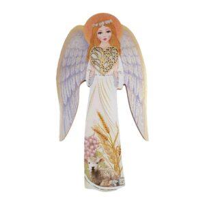 Ręcznie wykonana Ikona – Anioł Stróż dziewczynka z sercem motyw komunijny