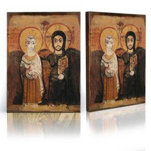 Ikona Jezusa i święta Menas ikona przyjaźni