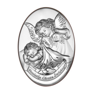 Obrazek srebrny – Aniołek z latarenką 10×13 cm