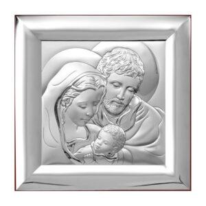 Obrazek srebrny Świętej Rodziny 12x12cm