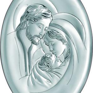 Obrazek srebrny wformie owalu, przedstawiającywizerunekŚwiętej Rodziny 13×18 cm