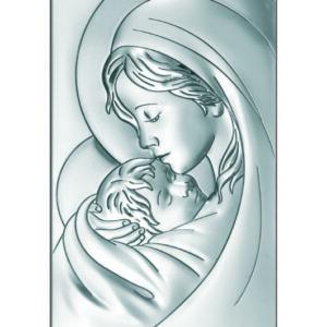 Obraz srebrny z wizerunkiem Matki Bożej z Dzieciątkiem 12×24 cm