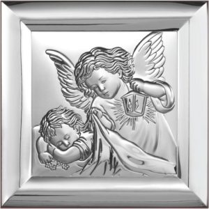 Obrazek srebrny – Aniołek z latarenką 12×12 cm