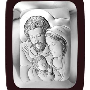 Obrazek srebrny Świętej Rodziny 9 x 11 cm
