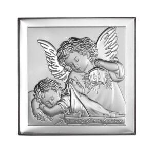 Obrazek srebrny z Aniołkiem 10×10 cm