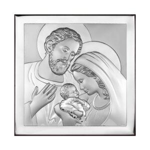 Obrazek srebrny Świętej Rodziny 12×12 cm
