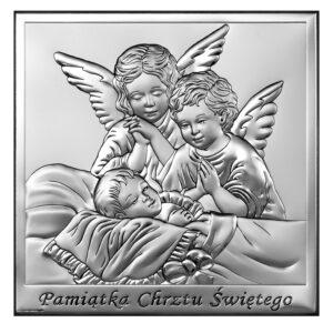 Obrazek srebrny z Aniołkami 12×12 cm