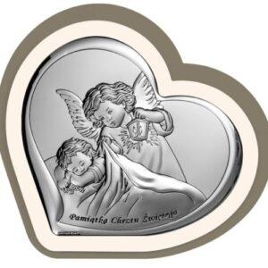 Obrazek srebrny – Aniołek czuwający w białej ramce 10×9,2 cm