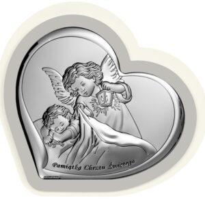 Obrazek srebrny – Aniołek czuwający 10×9,2 cm