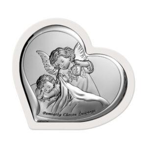 Obrazek srebrny – Aniołek czuwający w białej ramce 13,8×12 cm