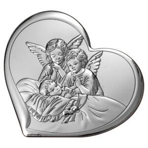 Obrazek srebrny – Aniołki czuwające 11 x 9,6 cm