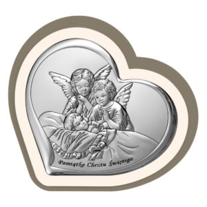 Obrazek srebrny  w drewnie – Aniołki czuwające  10×9,2 cm