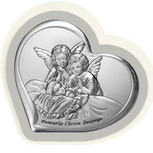 Obrazek srebrny  w brązowej ramie- Aniołki czuwające  9,2×9 cm