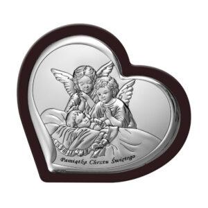 Obrazek srebrny  w brązowej ramie- Aniołki czuwające  13,8×12 cm