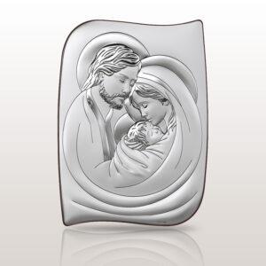 Święta Rodzina  obrazek srebrny 26×36 cm
