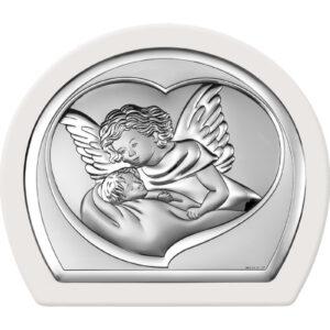 Obrazek srebrny – Aniołek czuwający w białej ramce 16x14cm