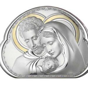 Srebrny obrazek Świętej Rodziny złocony 32,5×23,8 cm