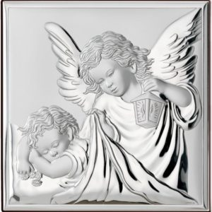 Obrazek srebrny przedstawiający wizerunek Aniołka z latarenką 12×12 cm