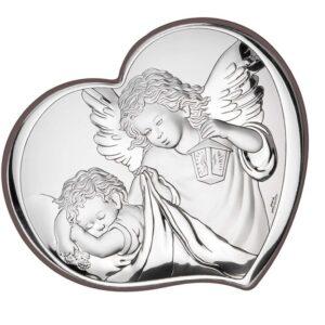 Obrazek srebrny w kształcie serca – Aniołek czuwający nad dzieckiem 10,5×9 cm