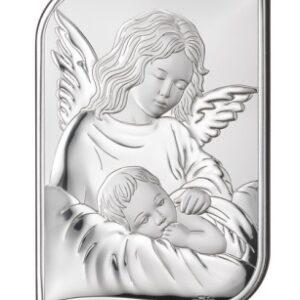 Obrazek srebrny – Anioł czuwający nad dzieckiem 12×17 cm