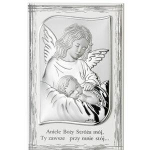 Obrazek srebrny – Anioł czuwający nad dzieckiem w  ramie 11,5×17,5 cm