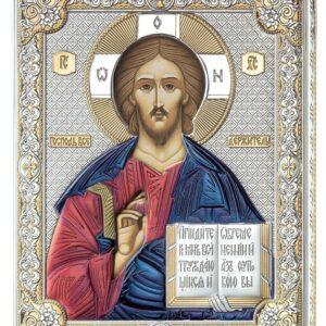 Ikona srebrna Jezus Pantokrator 12×16 cm