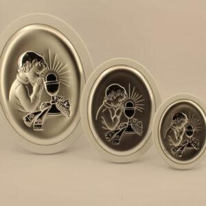 Obrazek owalny srebrny