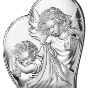 Obrazek srebrny w kształcie serca – Aniołek czuwający nad dzieckiem 12×14,6 cm
