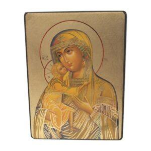 Ikona z wizerunkiem Matki Bożej z dzieciątkiem stworzona na desce olchowej.