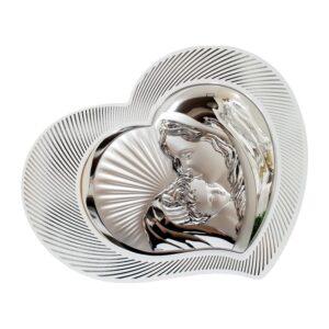 Obrazek srebrny madonna z dzieciątkiem – serce