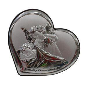 Obrazek srebrny- Aniołek czuwający z latarenką w dłoni