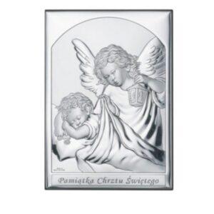 Obrazek srebrny – Aniołek z latarenką 13×18 cm