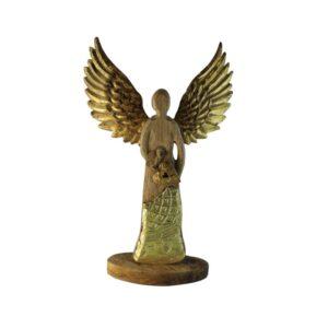 Drewniany anioł ze złotem
