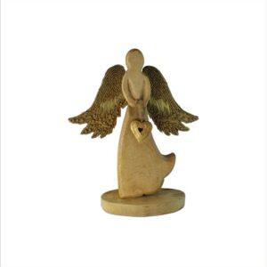 Anioł drewniany z dodatkami złota