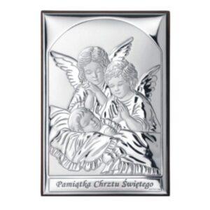 Obrazek srebrny z Aniołkami 9×13 cm