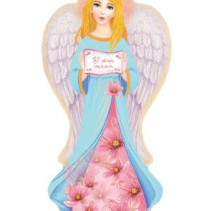 Ikona – Anioł Stróż na imieniny z kwiatami