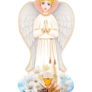 Ręcznie wykonana Ikona – Anioł Stróż chłopiec z kwiatami, kielichem i hostią stanowiące motyw komunijny