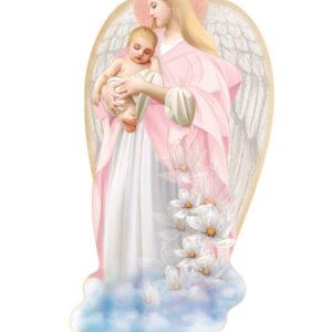Ikona – Anioł Stróż w różowej sukience z dzieckiem na rękach