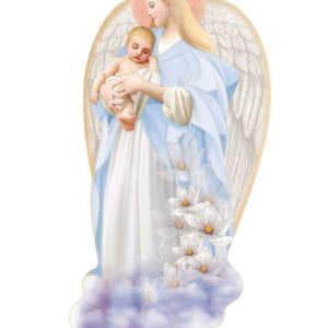 Ikona – Anioł Stróż w niebieskiej sukience z dzieckiem na rękach