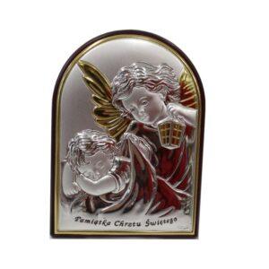 Srebrny obrazek z Aniołkiem czuwającym – pamiątka Chrztu Świętego