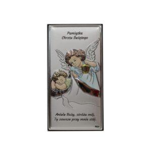 Obrazek srebrny na chrzest- Aniołek czuwający z latarenką