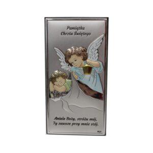 Obrazek srebrny – pamiątka Chrztu Świętego, Anioł czuwający