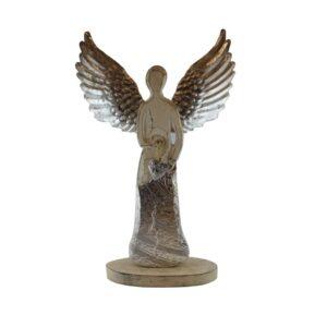 Srebrno drewniany anioł – figurka