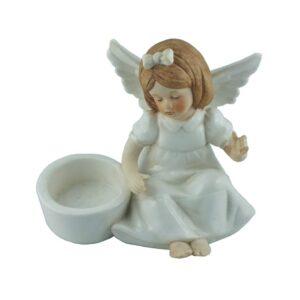 Aniołek porcelanowy – świecznik dziewczynka