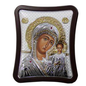 Obrazek srebrny z wizerunkiemMatki Boskiej z Dzieciątkiem.