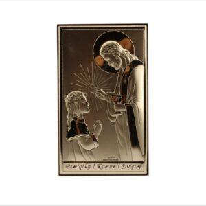 Obrazek srebrny.Idealny prezent na Komunię Świętą dla dziewczynki.