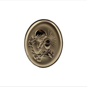 Obrazek owalny srebrny.Idealny prezent na Komunię Świętą dla dziewczynki.