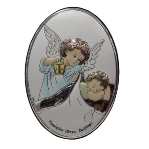Obrazek srebrny- Aniołek z latarenką