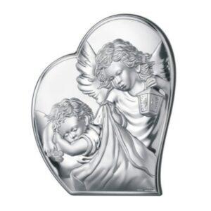 Obrazek srebrny w kształcie serca – Aniołek czuwający nad dzieckiem 16×19,5 cm