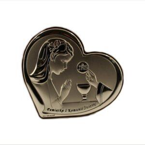 Obrazek srebrny w kształcie serca.